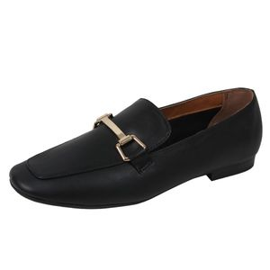 Shoes - Black Gold Tone Horsebit Loafer Low Heel Sandal